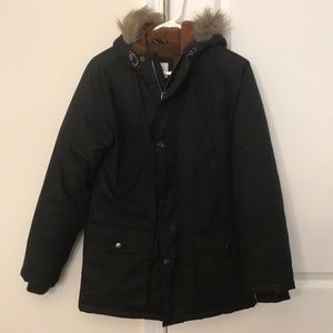 Old Navy black jacket with fur hood and lining.
